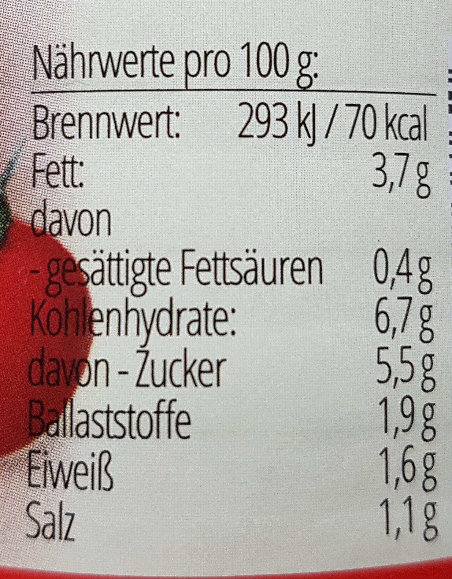 Zwergenwiese Gemüse Bolognese - Nährwertangaben - de