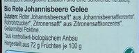 Fruchtgelee Rote Johannisbeere - Inhaltsstoffe - de