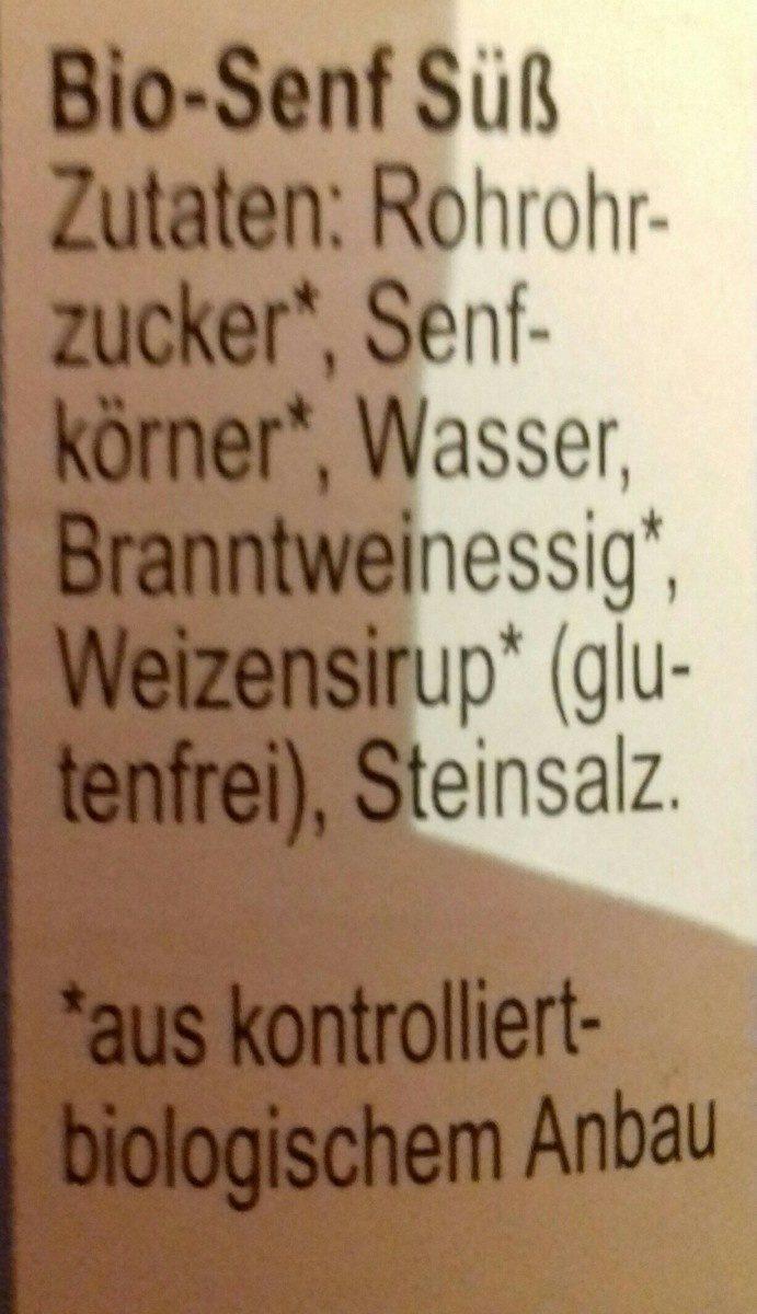 Zwergenwiese Süßer Senf,Bayerisch,160 ML Glas - Ingredients