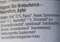 Zwergenwiese Mepfel Brotaufstrich - Ingrédients - de