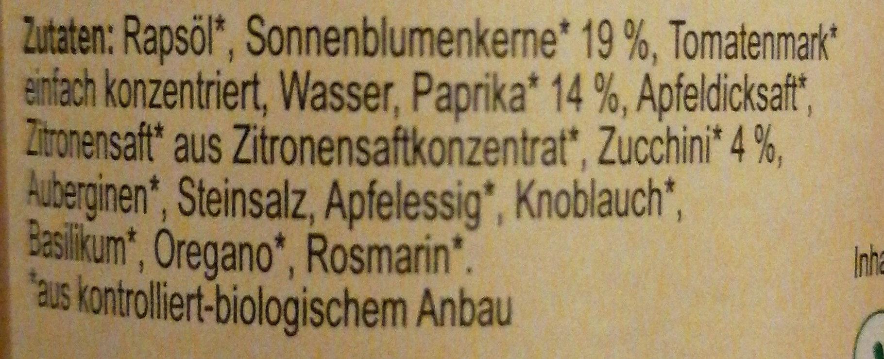 Zwergenwiese Papucchini Brotaufstrich - Inhaltsstoffe - de