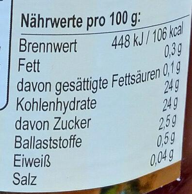 Frucht Garten Erdbeere - Informations nutritionnelles - de