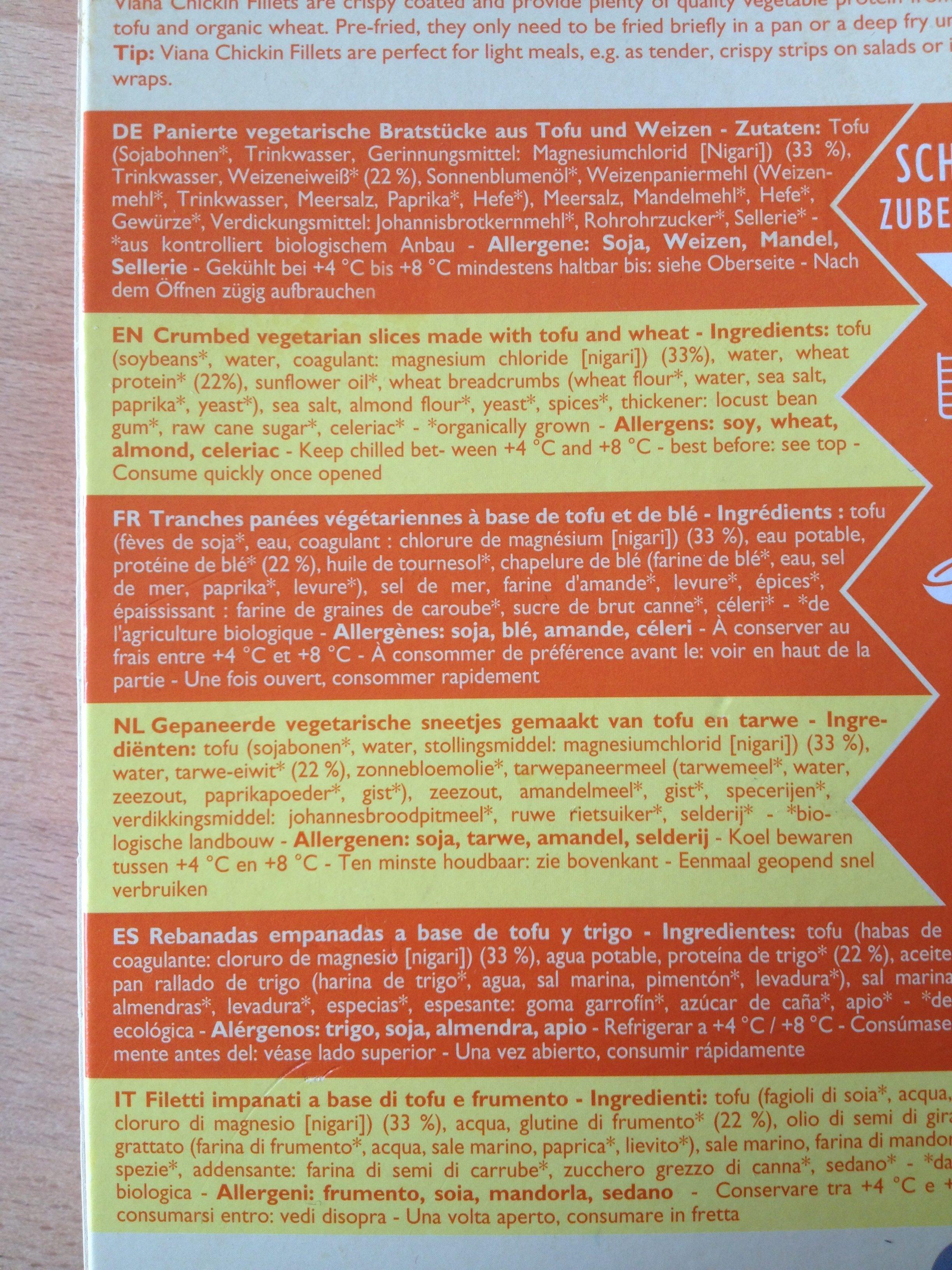 Chikin Fillets (100% vegetal) - Ingredients