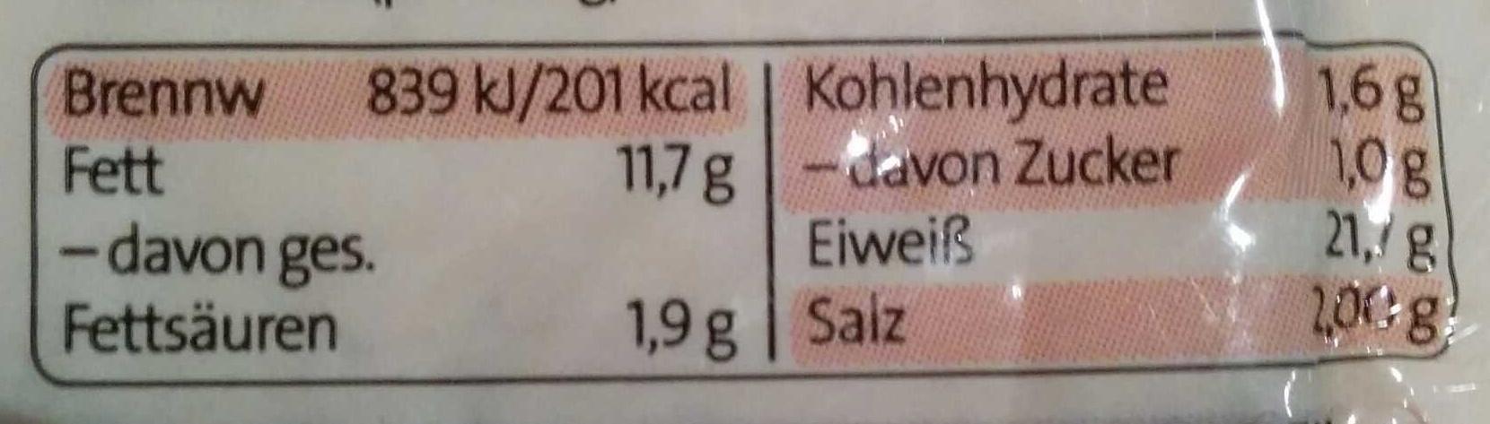 Räuchertofu Premium - Nutrition facts - de