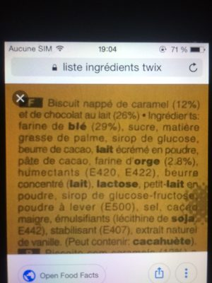 Twix - Ingrediënten - fr