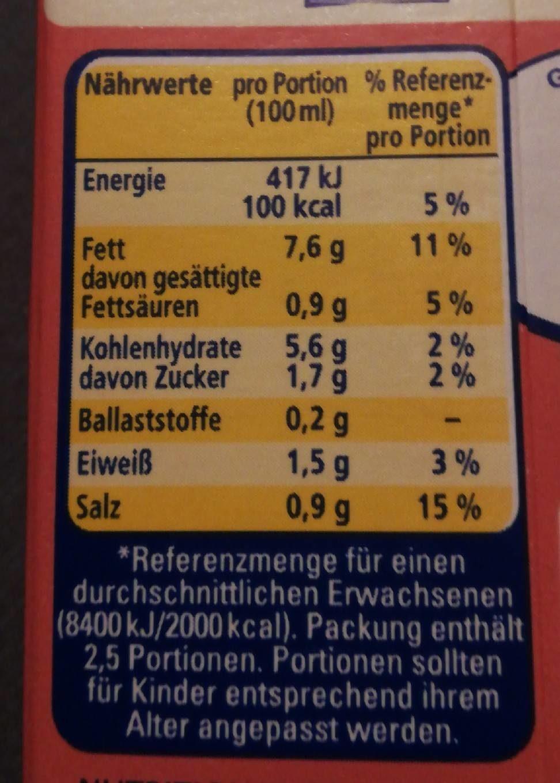 Les Sauces Bechamel Legere, 8% Fett - Nutrition facts - fr