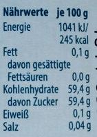 Gelee - schwarze Johannisbeere - Informations nutritionnelles