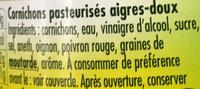 Cornichons aigres-doux Recette Paysanne - Ingrediënten - fr