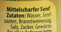 Mittelscharfer Senf fein würzig - Ingrédients - de