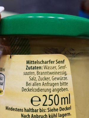 Kühne mittelscharfer Senf fein würzig - Inhaltsstoffe