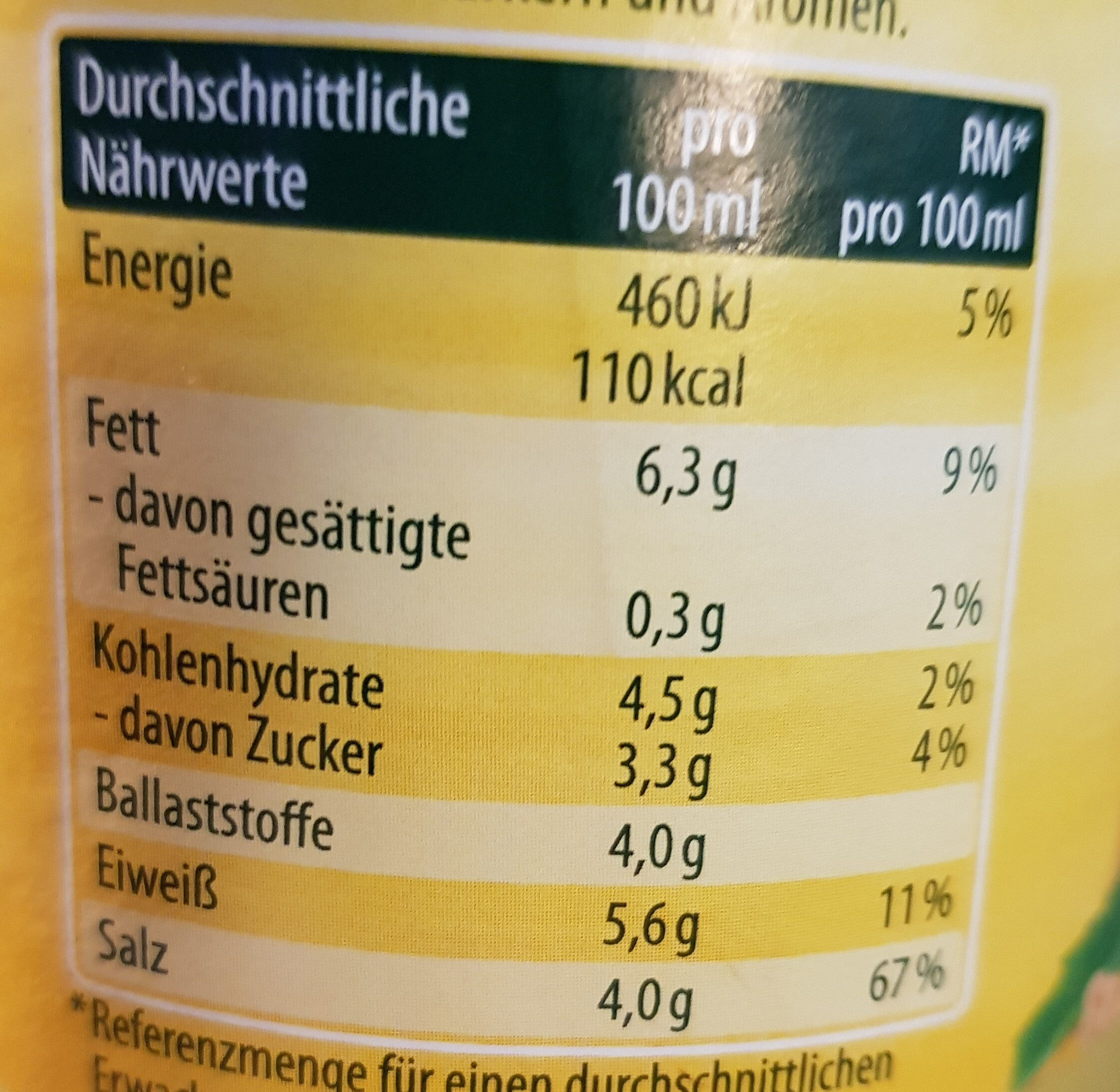 Mittelscharfer Senf fein würzig - Informations nutritionnelles - de