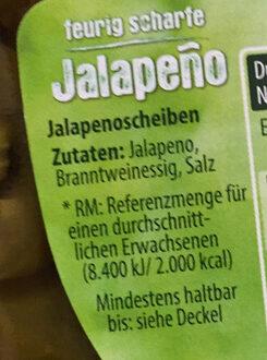 Jalapeño in Scheiben - Ingredientes - de