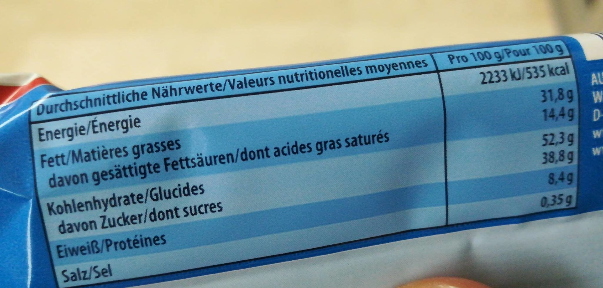 Knoppers, Nussriegel - Nutrition facts