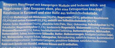 Knoppers NutBar - Zutaten - de