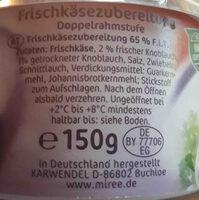 Frischkäse Knoblauch - Ingrédients - de