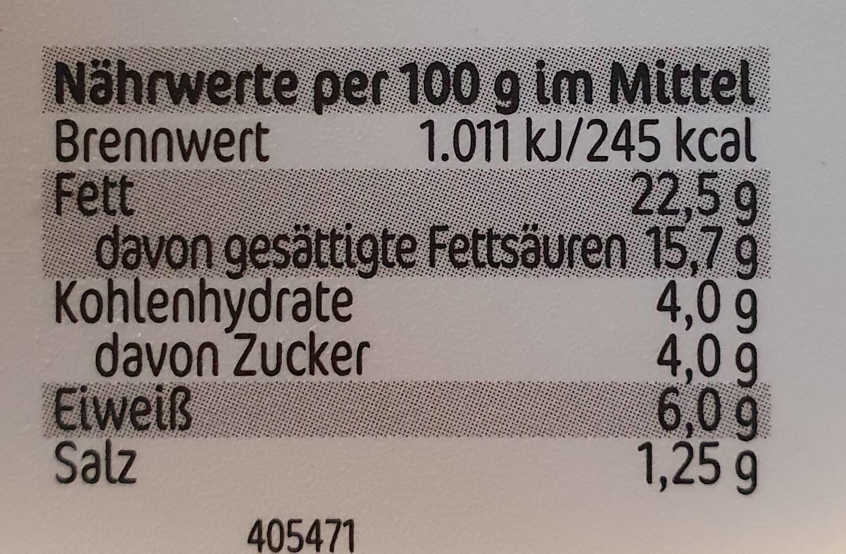 Frischkäse Knoblauch - Informations nutritionnelles - de