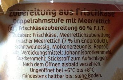Frischkäse Meerrettich - Ingrédients - fr