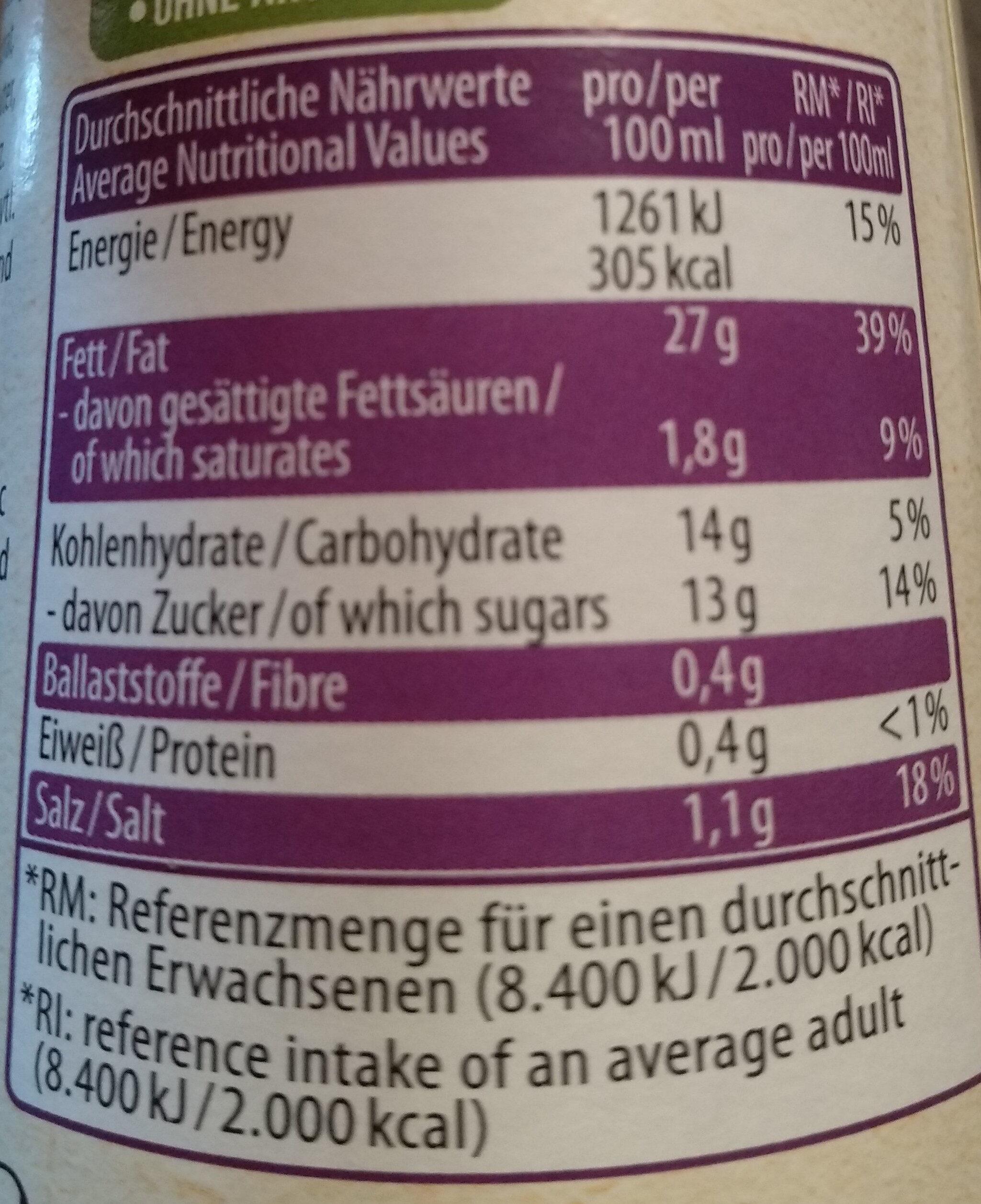 Balsamico Vinaigrette - Valori nutrizionali - de