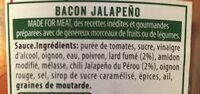 Made for meat - Bacon Jalapeño - Ingrédients