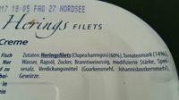 Zarte Heringsfilets in Tomaten-Creme - Ingrédients - fr