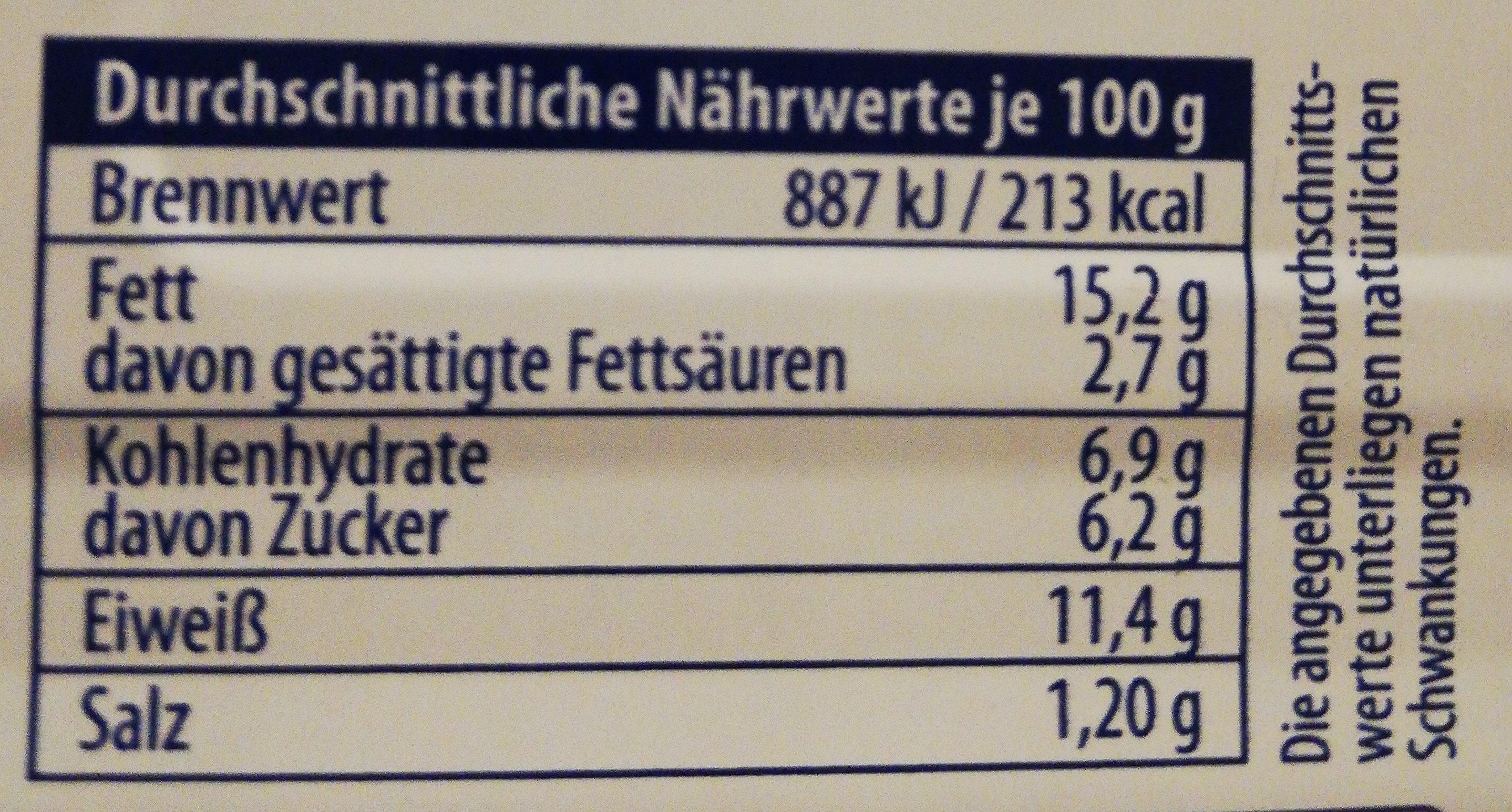 Fischbüchse Hering Filets in Piri-Mango-Creme - Valori nutrizionali - de