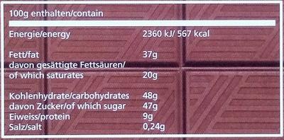 Pistazie Vollmilch Schokolade - Nutrition facts - de