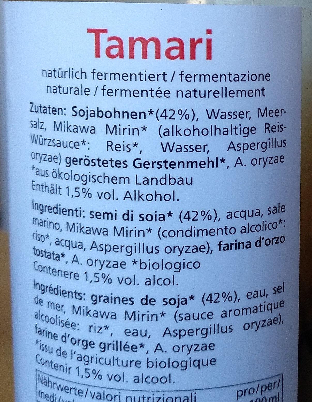 Tamari - Ingredients
