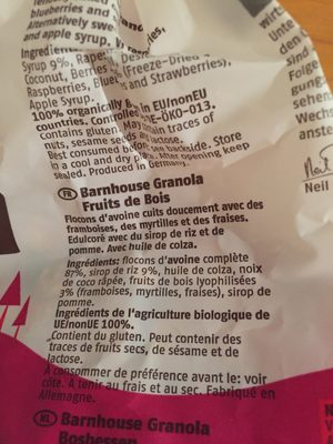 Barnhouse Granola Waldbeere, 375 GR Packung - Ingredientes