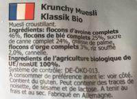 Crunchy Clasico 600 G Bio - Ingredients