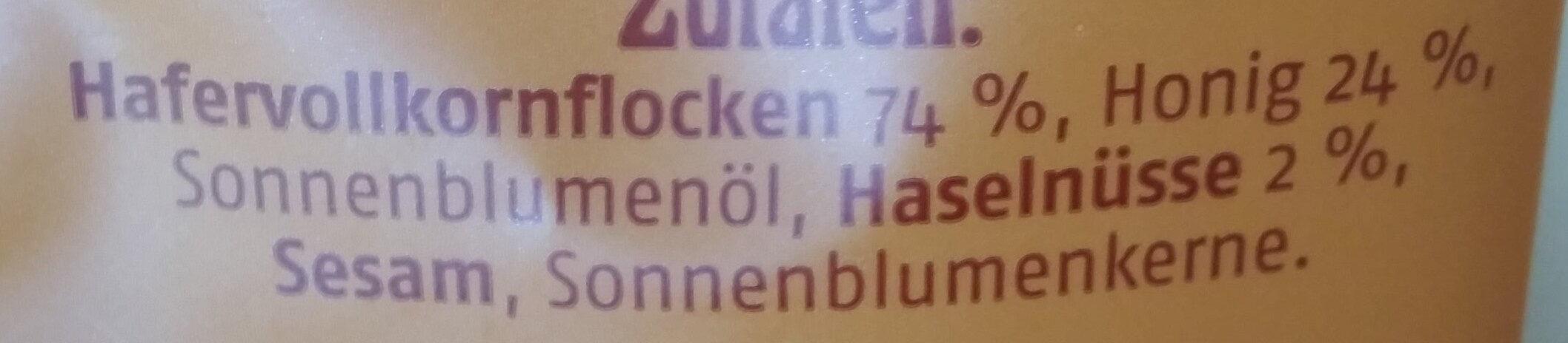 Barnhouse Krunchy Honing Muesli - Zutaten - de