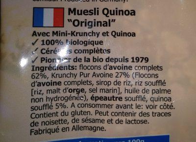 Barnhouse Feines Muesli Quinoa 'Original' - Ingredients