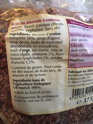 Crunchy Amarante Framboise Aronia - Ingrédients - fr