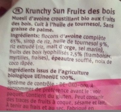 Krunchy Sun - Frutti Di Bosco - Ingredientes