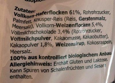 Mr. Reen's Krunchy, Schoko - Inhaltsstoffe
