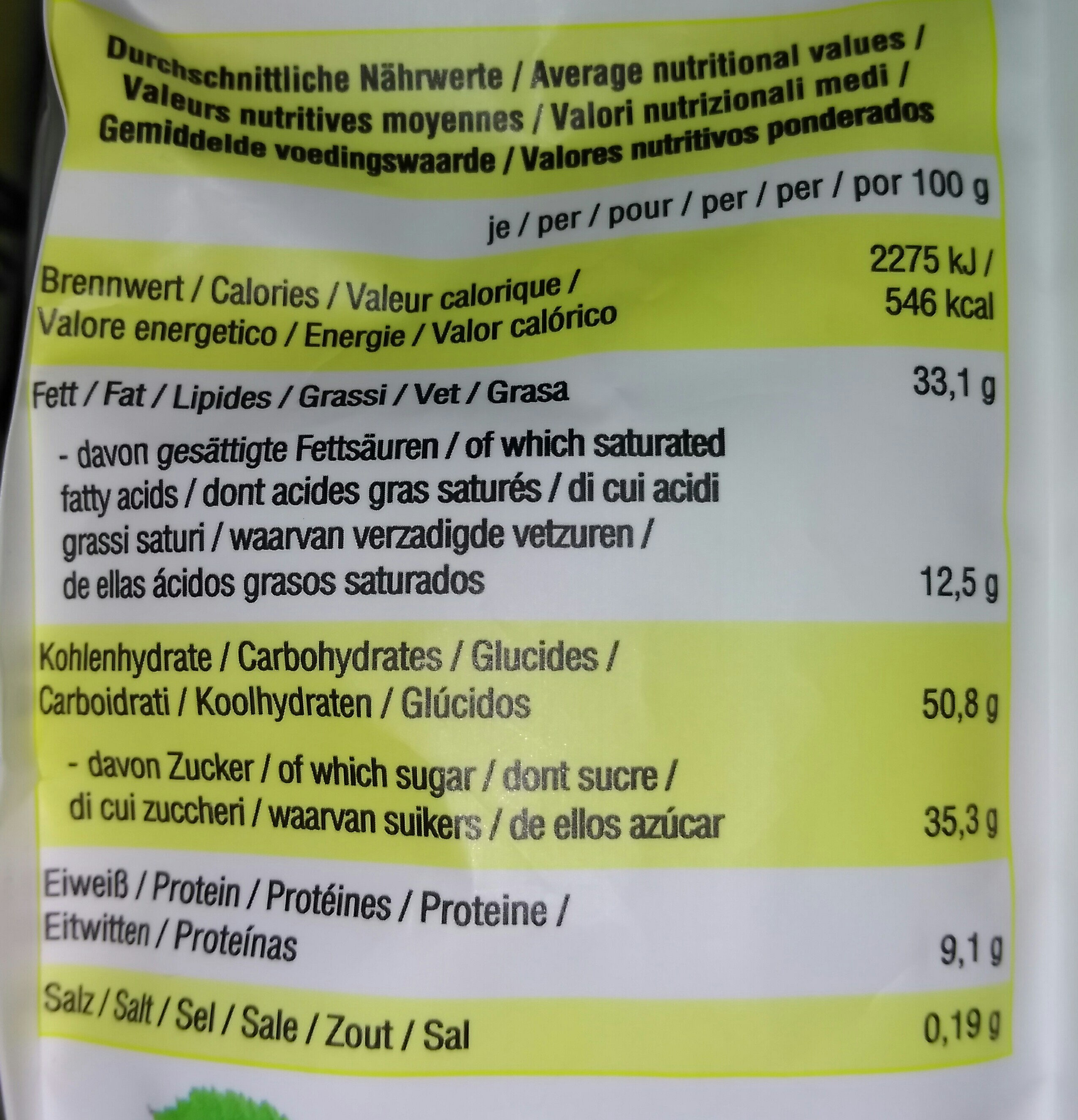 Nippon Nippolino Knusperpralinen - Informations nutritionnelles