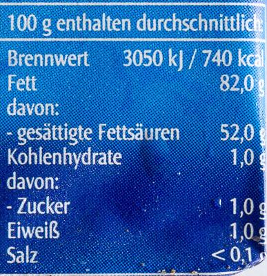 Sauerrahm Butter - Informations nutritionnelles - de