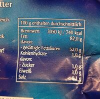 Sauerrahm Butter - Nutrition facts - de
