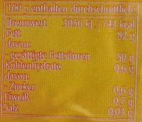 Süßrahmbutter - Informations nutritionnelles