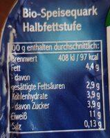 Speise Quark - Nutrition facts - de