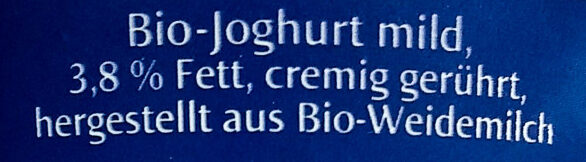 Weidemilch Joghurt mild - Ingrédients - de