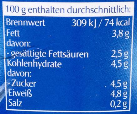 Joghurt mild, 3,8% Fett - Nutrition facts - de