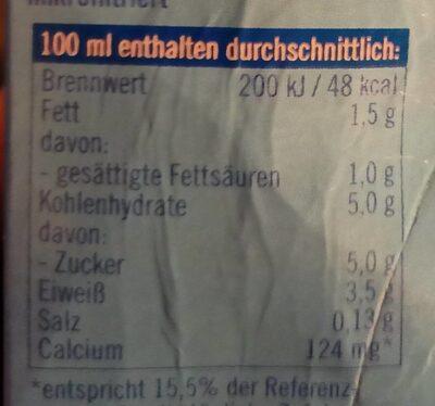 frische fettarme Milch - Valori nutrizionali - de