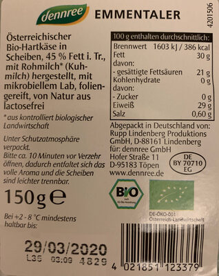 Emmentaler - Ingredients - de