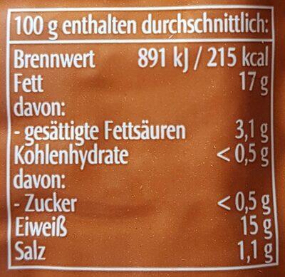 Tofu Erdnuss - Nährwertangaben - de
