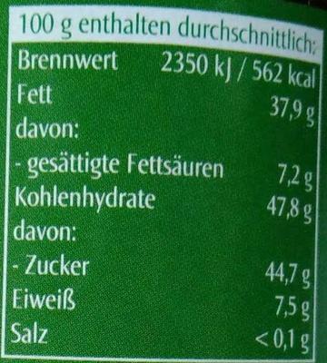 Nuss-Nougat Creme - Nutrition facts - de
