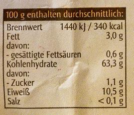 Bio-6-Korn-Flocken - Informations nutritionnelles