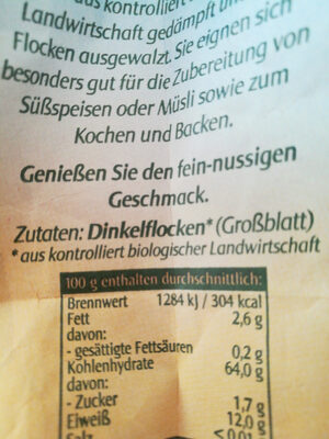 Dinkel Flocken - Ingredienti - de