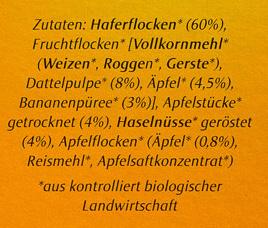 Swiss Porridge Nuss-Frucht - Inhaltsstoffe