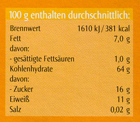 Swiss Porridge Nuss-Frucht - Nährwertangaben