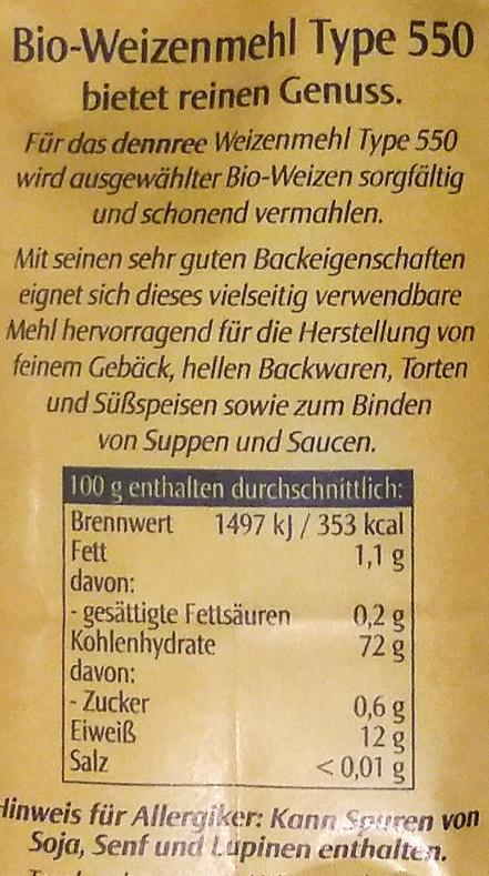 Weizenmehl 550 - Zutaten - de